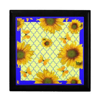 Yellow Pattern Butterfly & Sunflowers Gift Box