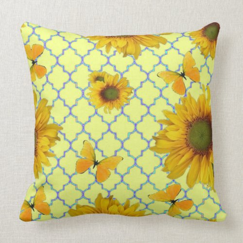 Yellow Pattern Butterfly & Sunflowers Throw Pillow