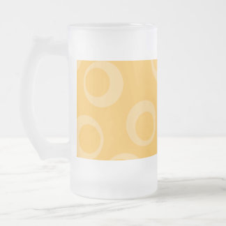 Yellow pattern of circles. Retro. 16 Oz Frosted Glass Beer Mug