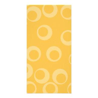 Yellow pattern of circles. Retro. Personalized Photo Card