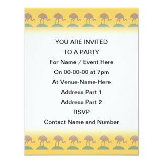 Yellow Pattern with Birds. 4.25x5.5 Paper Invitation Card
