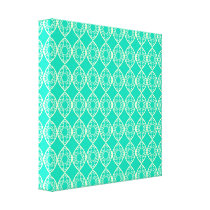 Yellow Pattern with Green Background Canvas Print