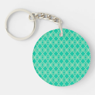 Yellow Pattern with Green Background Double-Sided Round Acrylic Keychain