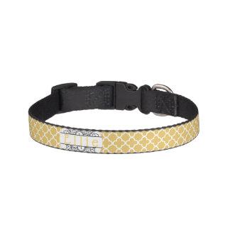 Yellow Patterned Monogram Pet Collar