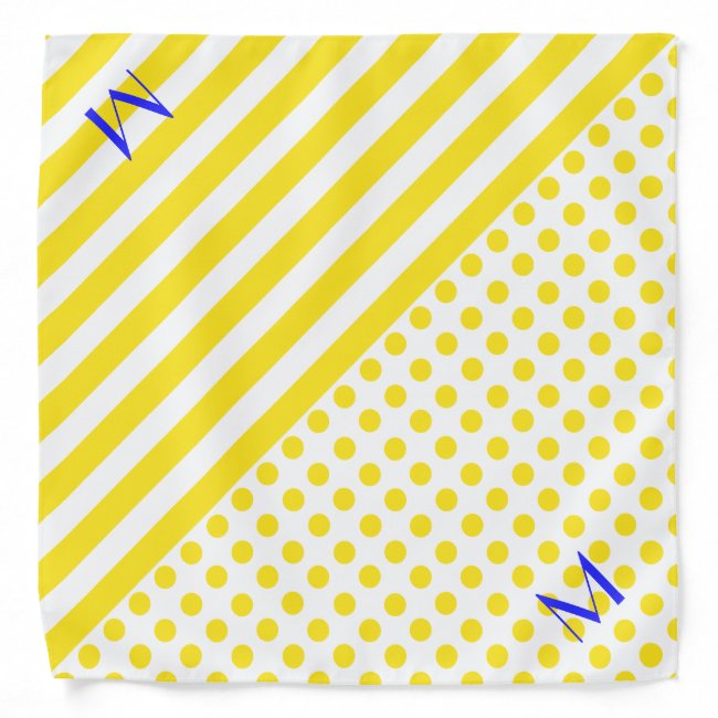 Yellow Patterns and Monograms Dog Bandana