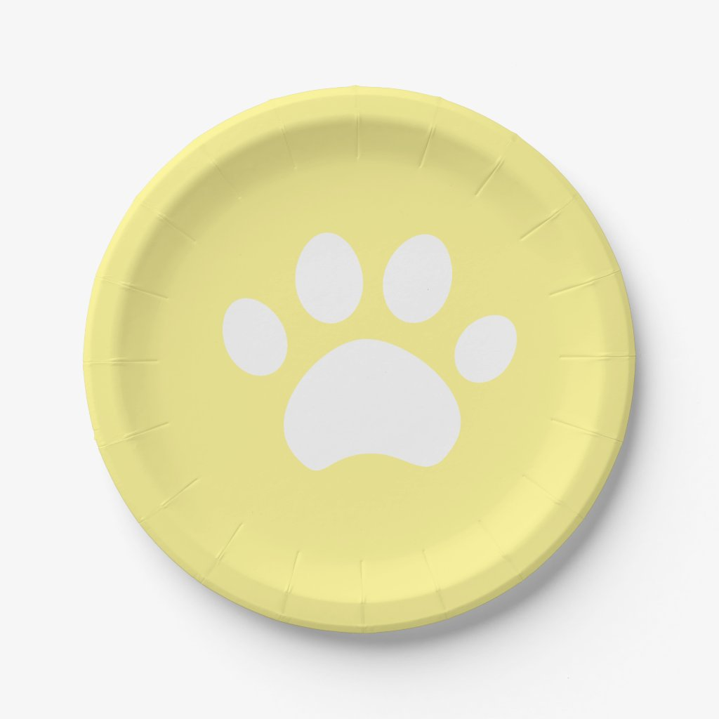 Yellow Paw Print 4 a Purrfect Day Paper Plate