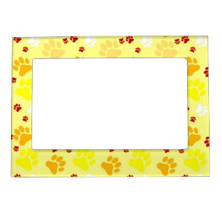 Yellow Paw Print Frame Magnet