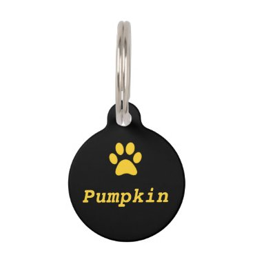 Halloween Themed Yellow Paw Print Pet Tag