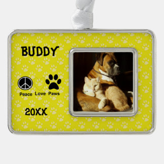 Yellow Paw Print Pet's Christmas Ornament
