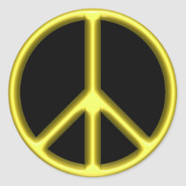 Yellow Peace Sign Classic Round Sticker