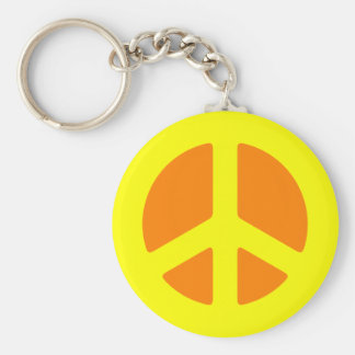 Yellow Peace Sign Keychain