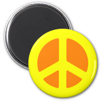 Yellow Peace Sign Magnet