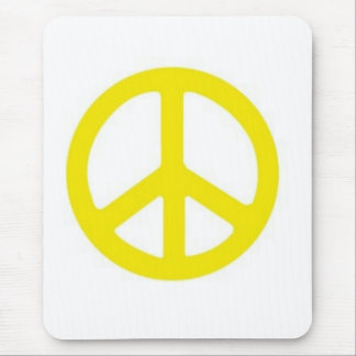 YELLOW PEACE SIGN :-) MOUSE PAD