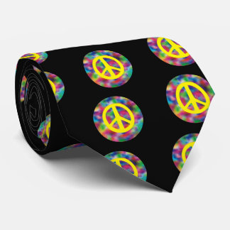 Yellow Peace Sign on Rainbow Colored Background Neck Tie
