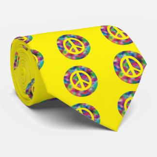 Yellow Peace Sign on Rainbow Colored Background Tie