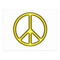 Yellow Peace Sign Postcard