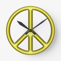 Yellow Peace Sign Round Clock
