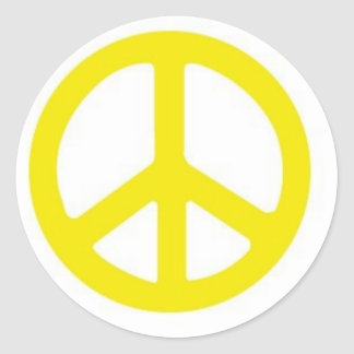 YELLOW PEACE SIGN :-) STICKER