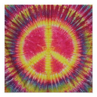 Yellow Peace Sign Tie Dye