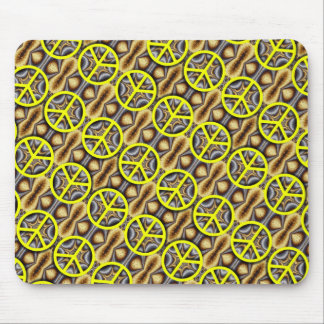 Yellow Peace Signs Collage Mouse Pad