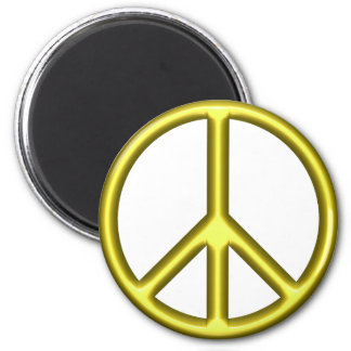 Yellow Peace Symbol 2 Inch Round Magnet