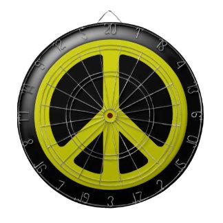 Yellow Peace Symbol Dartbaord Dartboards
