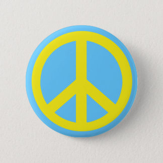 Yellow Peace Symbol Products Button