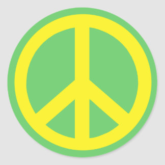 Yellow Peace Symbol Products Round Stickers