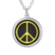 Yellow Peace Symbol Silver Plated Necklace