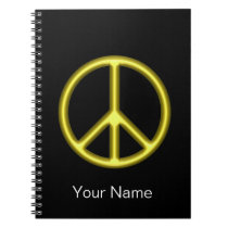 Yellow Peace Symbol Spiral Notebook