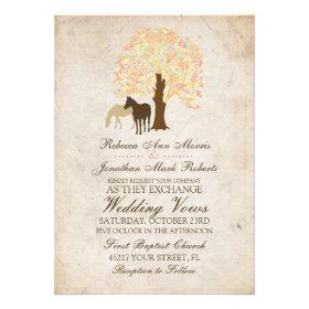 Yellow Peach and Mint Autumn Horses Wedding Custom Invitations