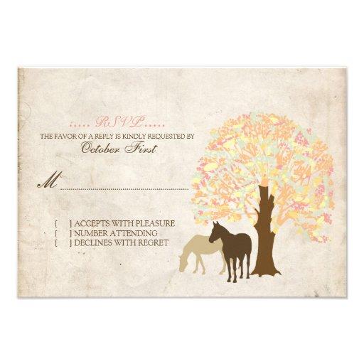 Yellow Peach and Mint Autumn Horses Wedding RSVP Custom Announcement