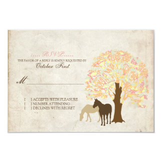Yellow Peach and Mint Autumn Horses Wedding RSVP Custom Announcement