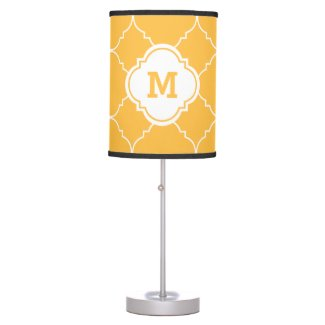 Yellow Peach White Quatrefoil Pattern Monogrammed Table Lamp