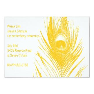 Yellow Peacock Birthday Invitation