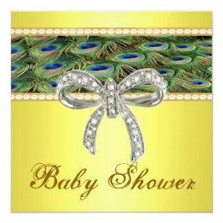Yellow Peacock Diamond Bow Baby Shower Invitation