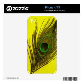 Yellow Peacock Feather iPhone 4 Skin