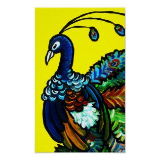 Yellow Peacock Poster