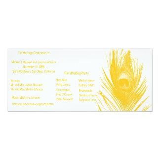 Yellow Peacock Wedding Program Card