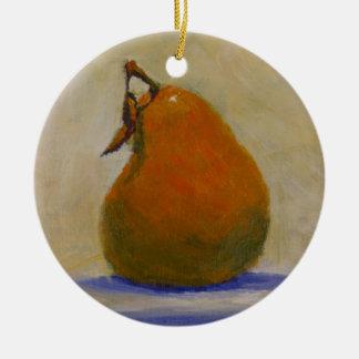 Yellow Pear Ceramic Ornament
