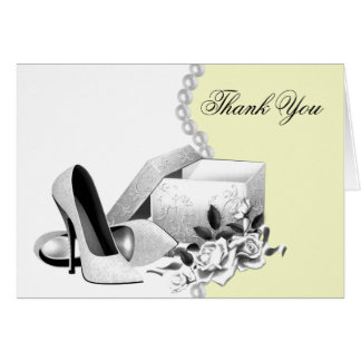 Yellow Pearls High Heel Shoes Thank You Cards