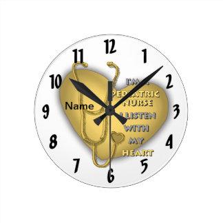 Yellow Pediatric Nurse Round Clock