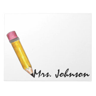 Yellow Pencil Writing Personalized Teacher Notepad
