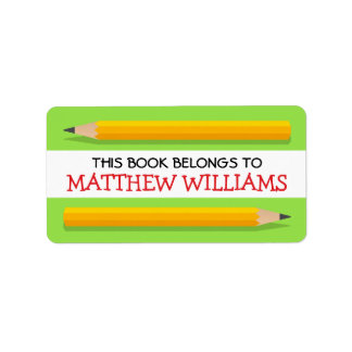 Yellow pencils on green bookplate school book address label