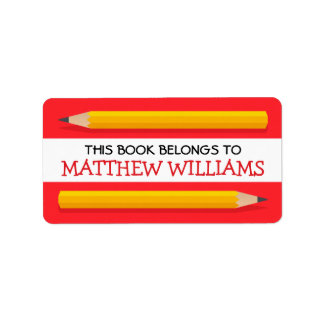 Yellow pencils on red bookplate school book address label