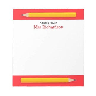 Yellow pencils personalized name teacher note pad