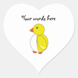 Yellow penguin heart sticker
