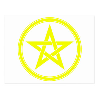 yellow pentacle postcard