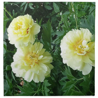 Yellow Peonies so Bright That They Look Real Cloth Napkins