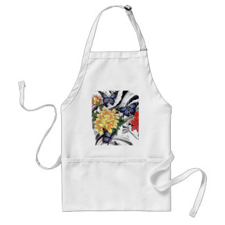 Yellow Peony and Butterfly Tattoo Design Aprons